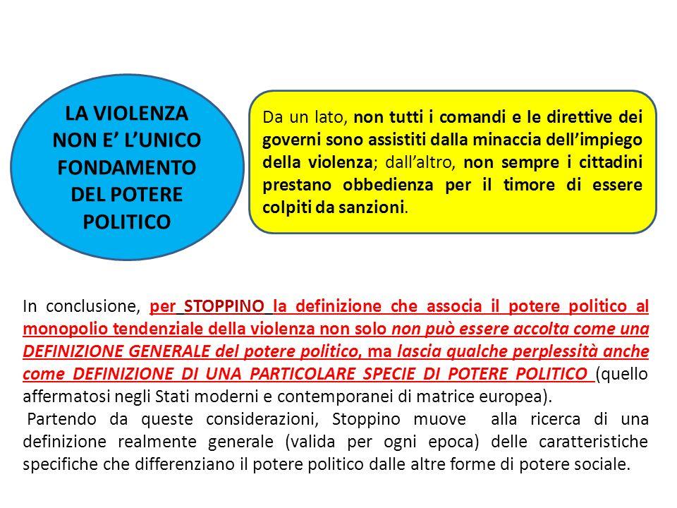 LA VIOLENZA NON E' L'UNICO FONDAMENTO DEL POTERE POLITICO