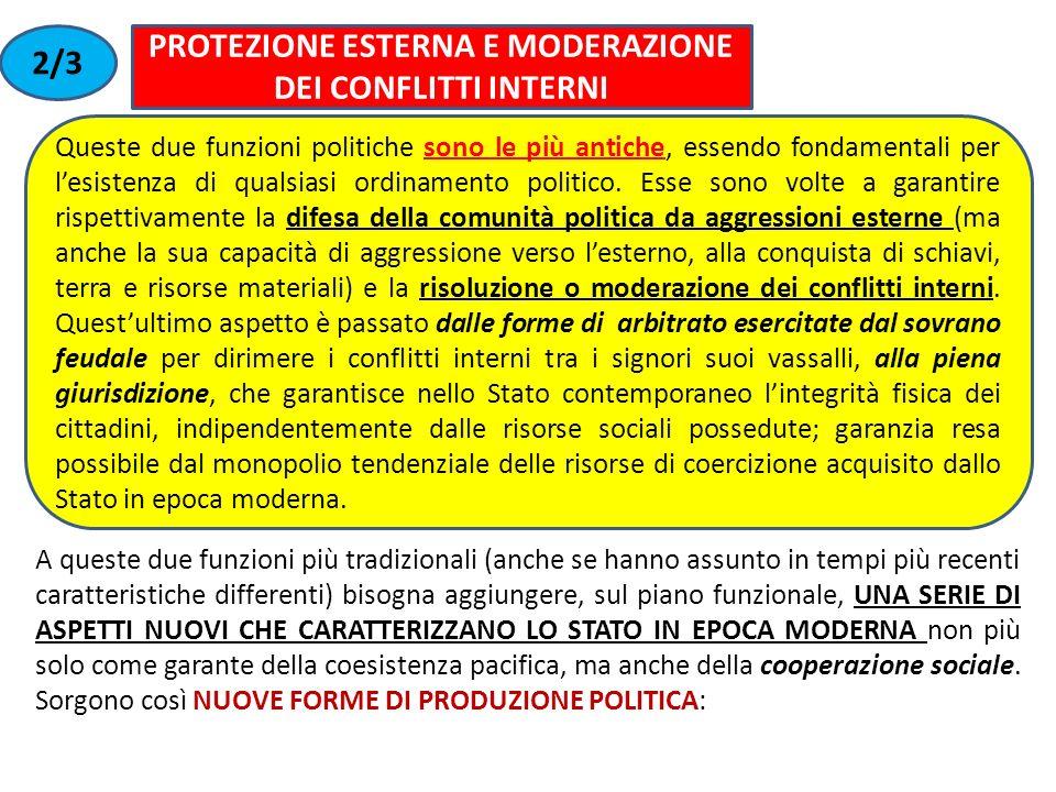 PROTEZIONE ESTERNA E MODERAZIONE DEI CONFLITTI INTERNI