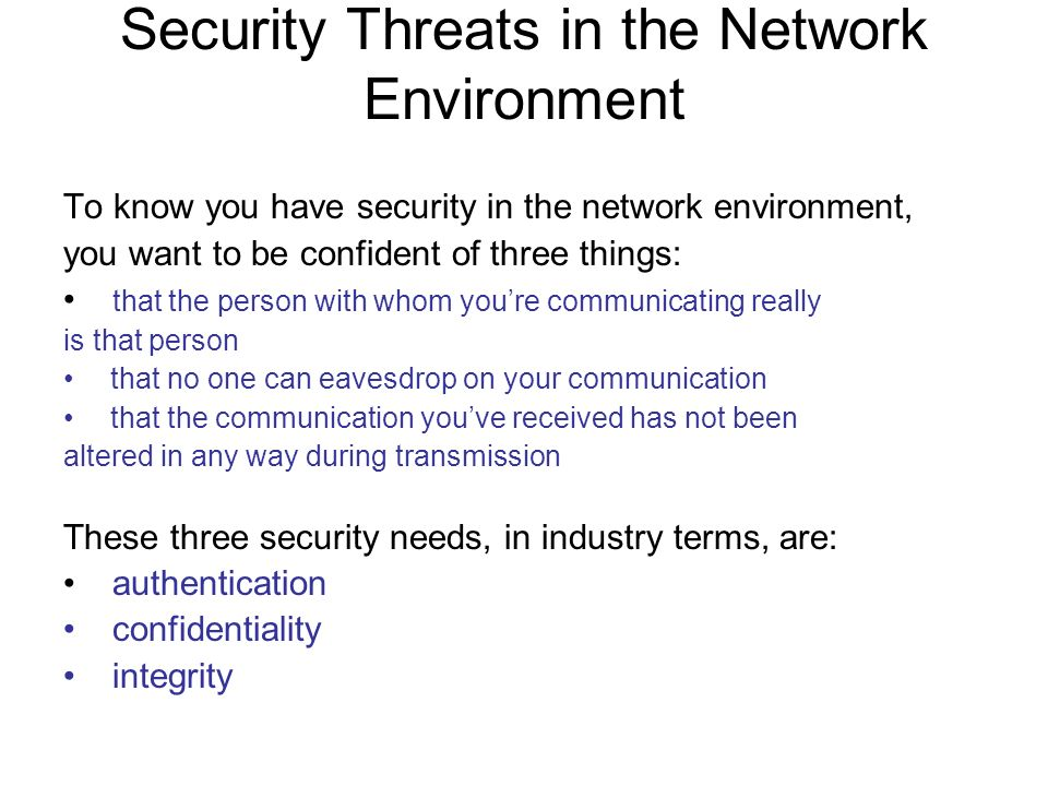 Security Threats in the Network Environment