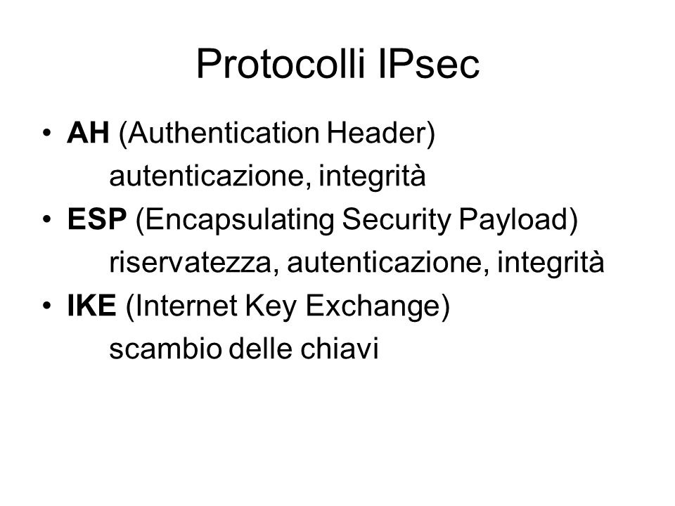 Protocolli IPsec AH (Authentication Header) autenticazione, integrità