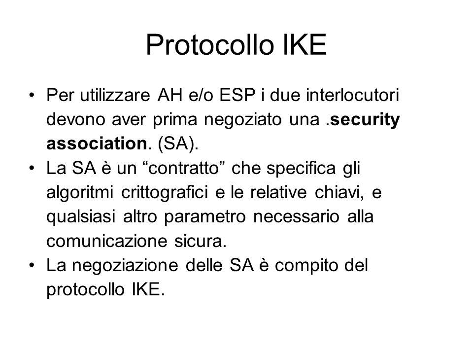 Protocollo IKE Per utilizzare AH e/o ESP i due interlocutori