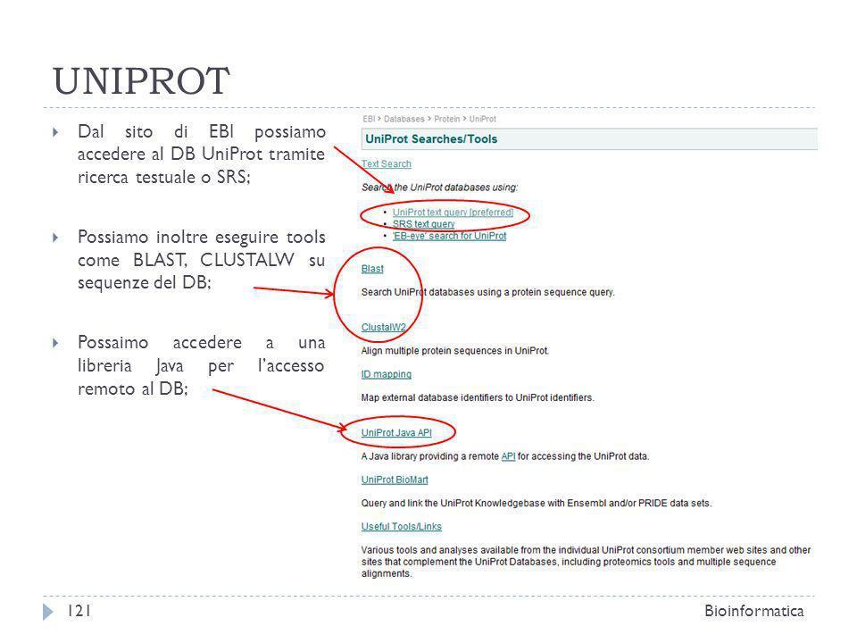 UNIPROTDal sito di EBI possiamo accedere al DB UniProt tramite ricerca testuale o SRS;