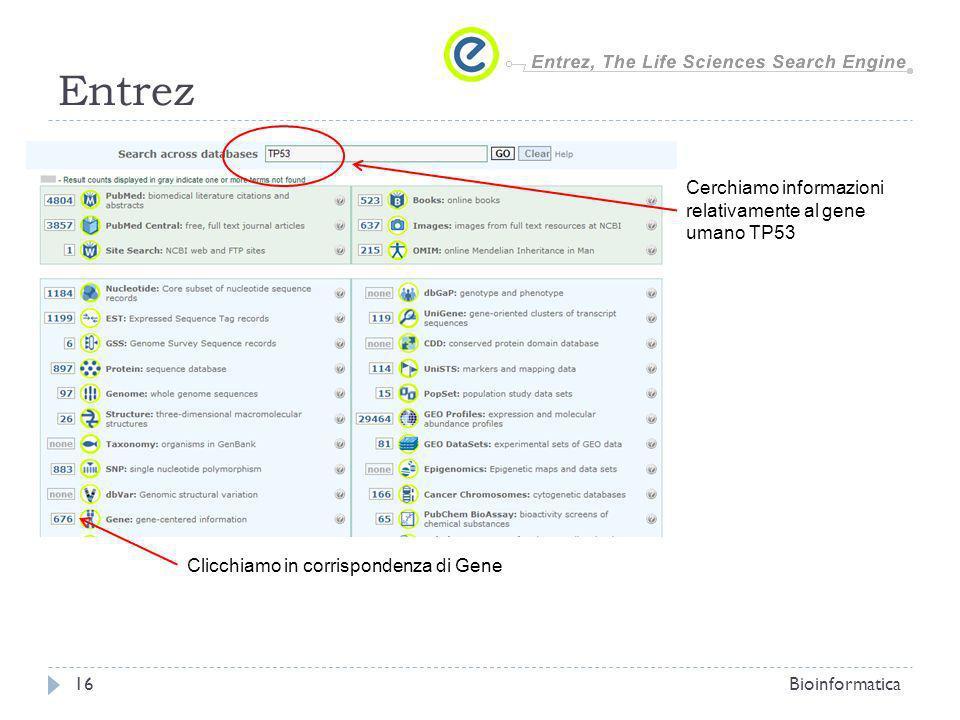 Entrez Cerchiamo informazioni relativamente al gene umano TP53