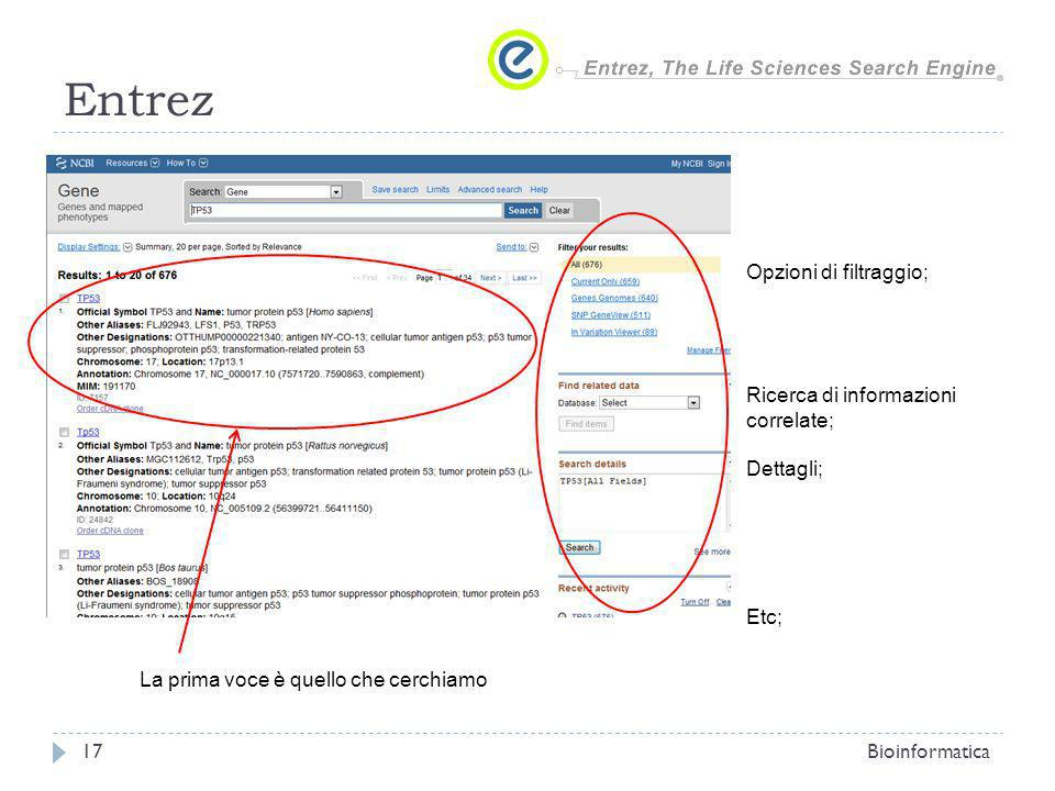 Entrez Opzioni di filtraggio; Ricerca di informazioni correlate;