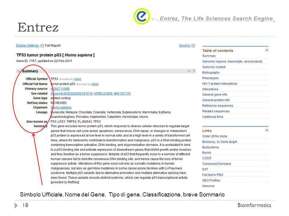 EntrezSimbolo Ufficiale, Nome del Gene, Tipo di gene, Classificazione, breve Sommario.