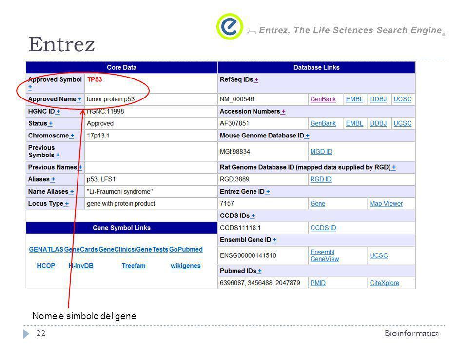 Entrez Nome e simbolo del gene Bioinformatica