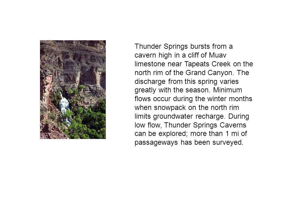 Thunder Springs bursts from a cavern high in a cliff of Muav limestone near Tapeats Creek on the north rim of the Grand Canyon.