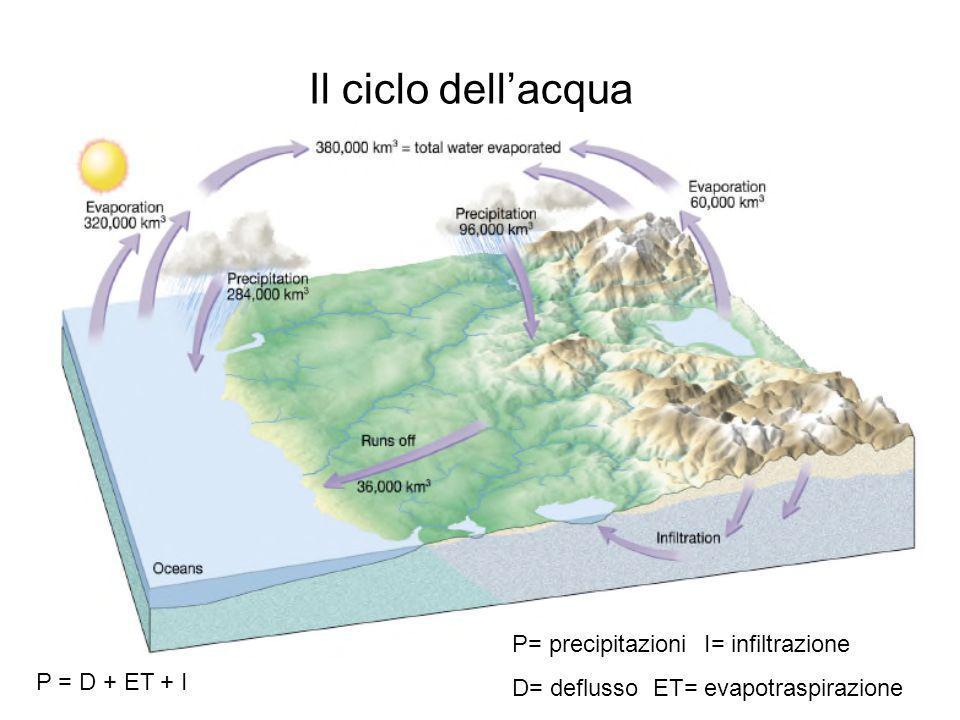 Il ciclo dell'acqua P= precipitazioni I= infiltrazione