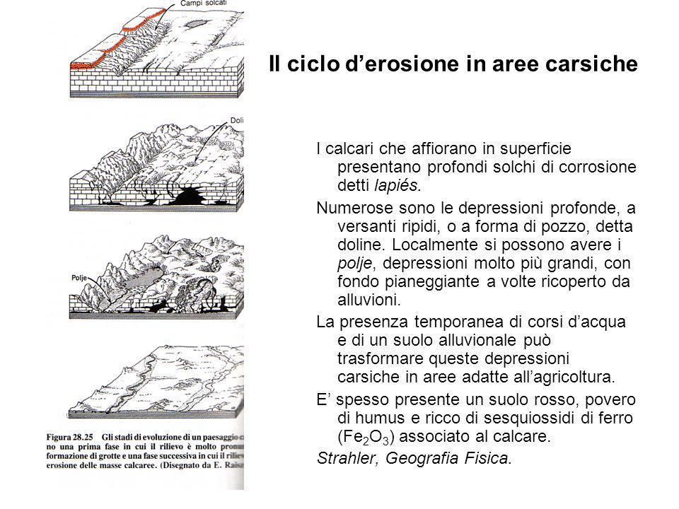Il ciclo d'erosione in aree carsiche
