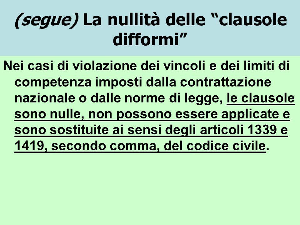 (segue) La nullità delle clausole difformi