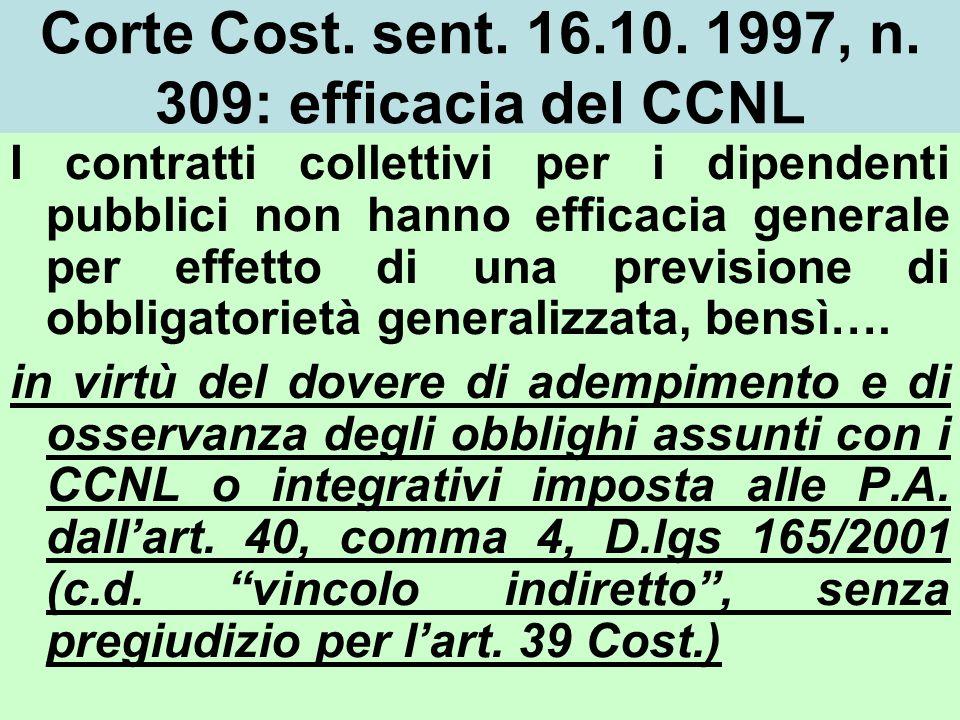 Corte Cost. sent. 16.10. 1997, n. 309: efficacia del CCNL