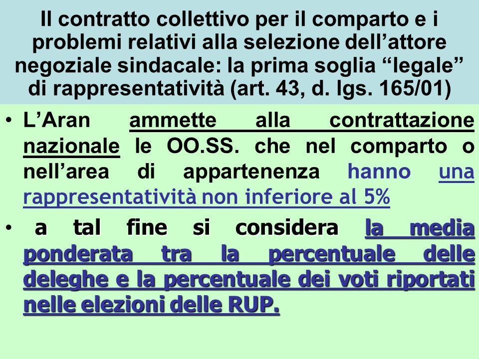 Il contratto collettivo per il comparto e i problemi relativi alla selezione dell'attore negoziale sindacale: la prima soglia legale di rappresentatività (art. 43, d. lgs. 165/01)