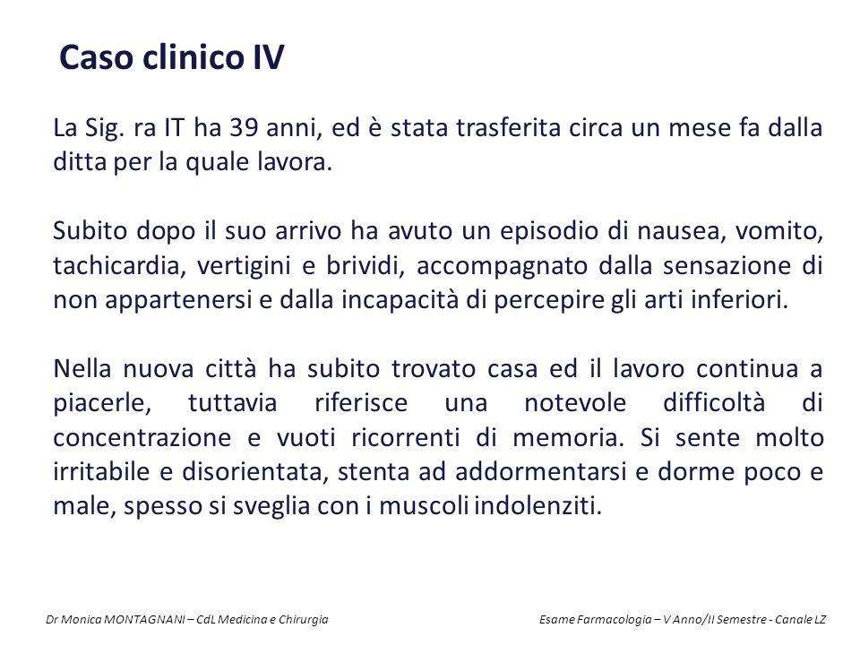 Caso clinico IV La Sig. ra IT ha 39 anni, ed è stata trasferita circa un mese fa dalla ditta per la quale lavora.