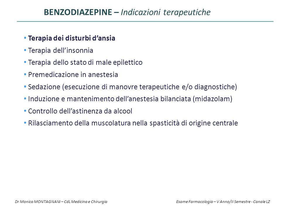 BENZODIAZEPINE – Indicazioni terapeutiche