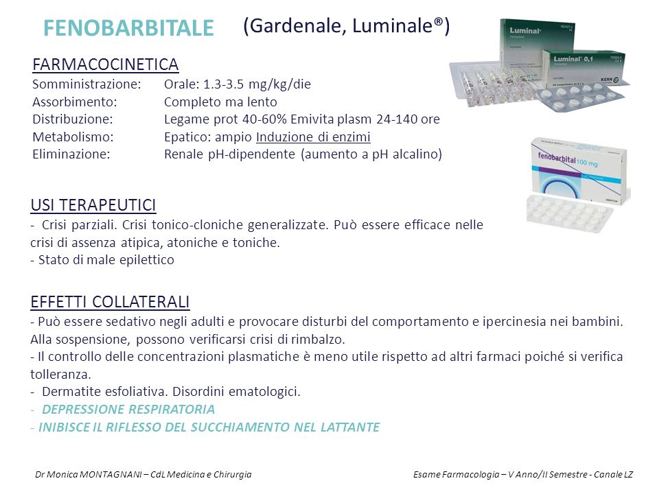 FENOBARBITALE (Gardenale, Luminale®) FARMACOCINETICA USI TERAPEUTICI