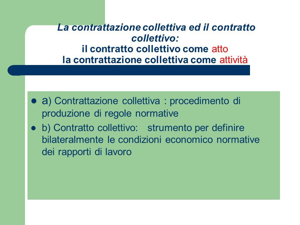 La contrattazione collettiva ed il contratto collettivo: il contratto collettivo come atto la contrattazione collettiva come attività