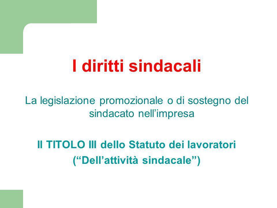 Il TITOLO III dello Statuto dei lavoratori ( Dell'attività sindacale )