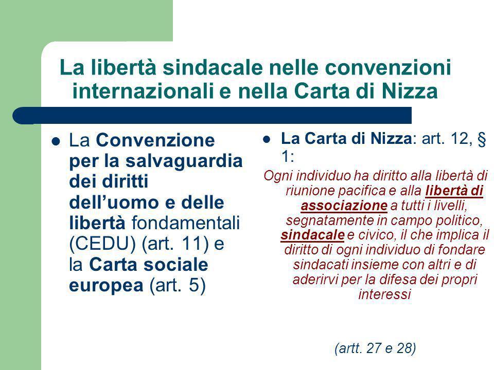 La libertà sindacale nelle convenzioni internazionali e nella Carta di Nizza