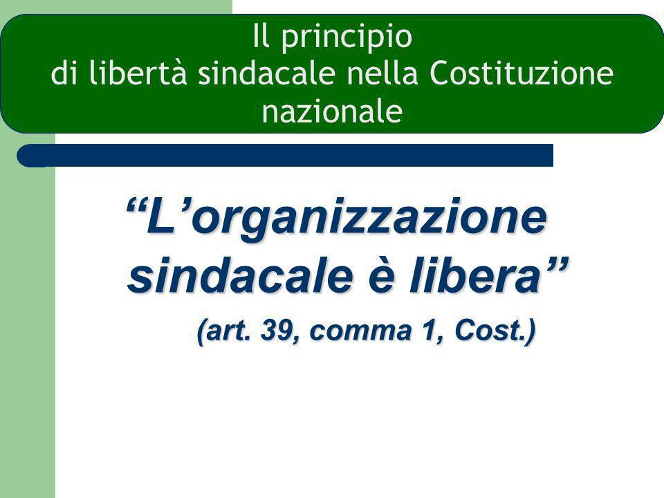 Il principio di libertà sindacale nella Costituzione nazionale
