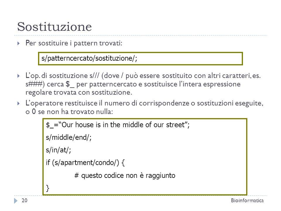 Sostituzione Per sostituire i pattern trovati: