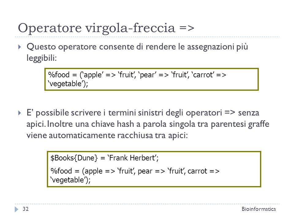 Operatore virgola-freccia =>