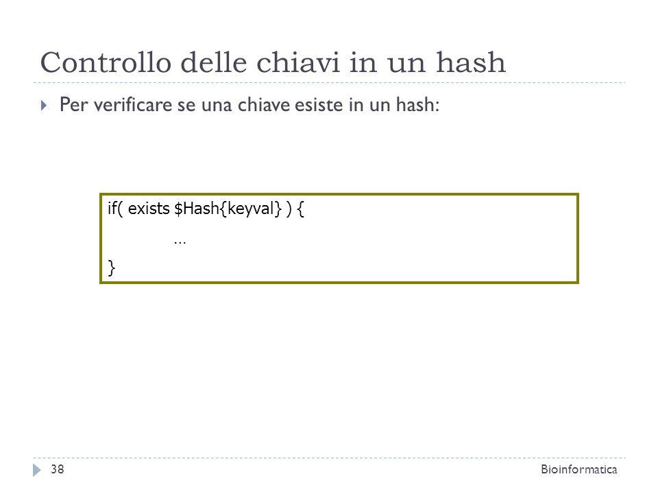 Controllo delle chiavi in un hash