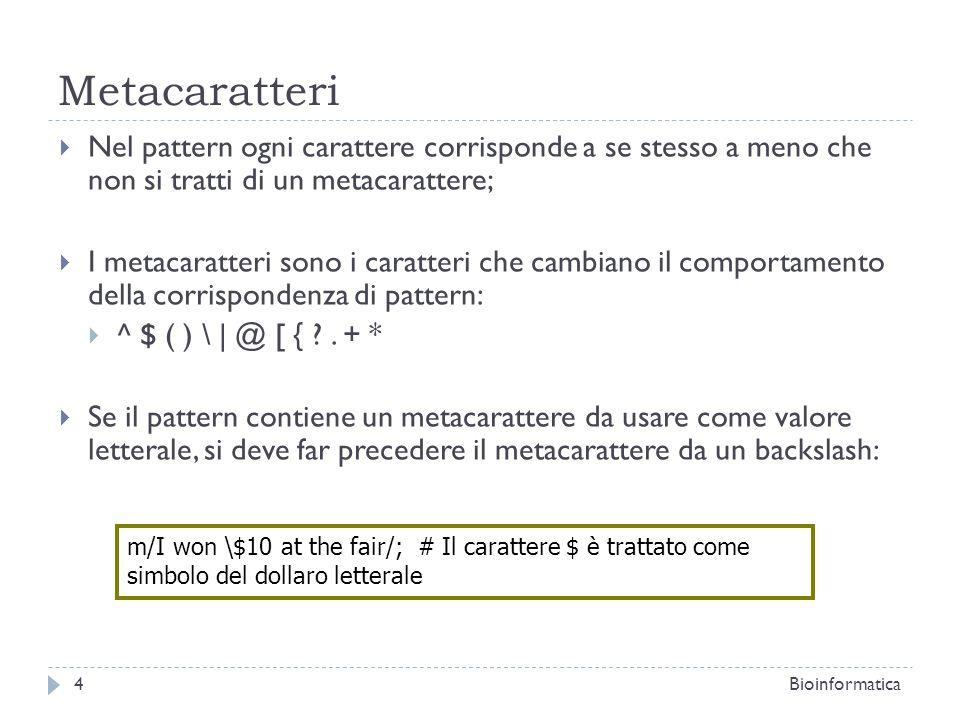 Metacaratteri Nel pattern ogni carattere corrisponde a se stesso a meno che non si tratti di un metacarattere;