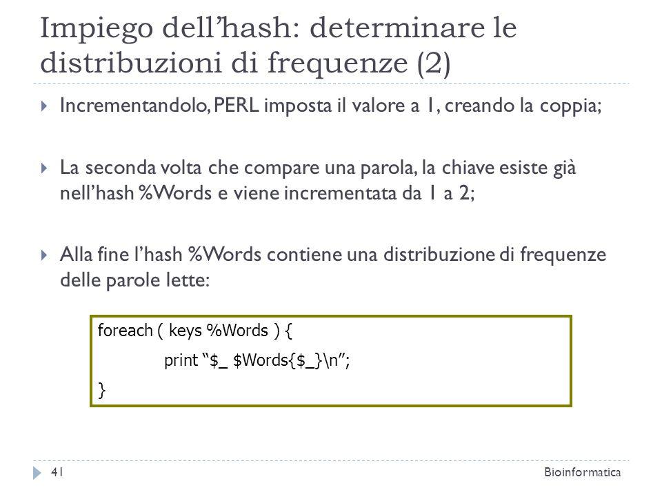 Impiego dell'hash: determinare le distribuzioni di frequenze (2)