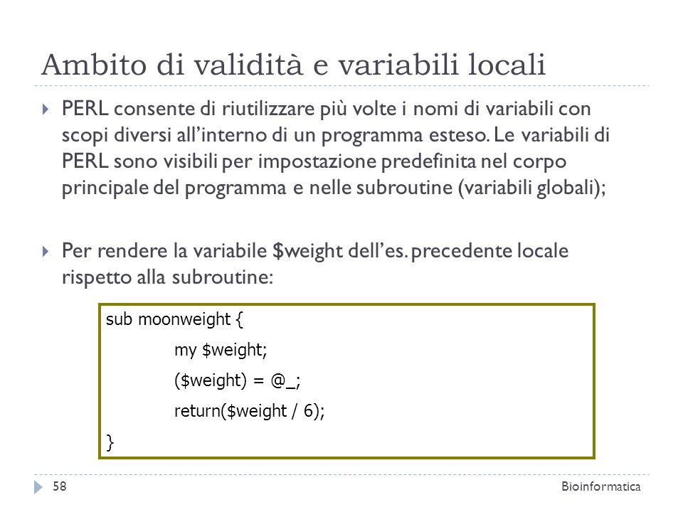 Ambito di validità e variabili locali