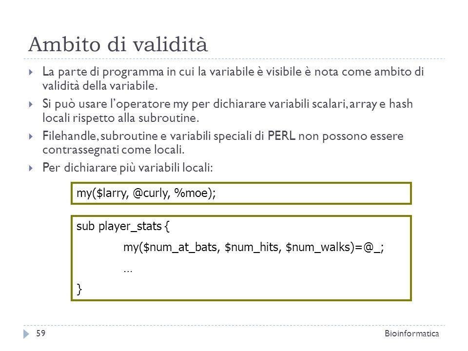 Ambito di validità La parte di programma in cui la variabile è visibile è nota come ambito di validità della variabile.