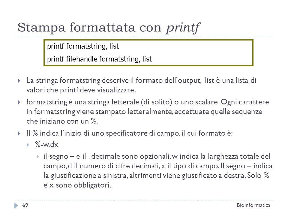 Stampa formattata con printf