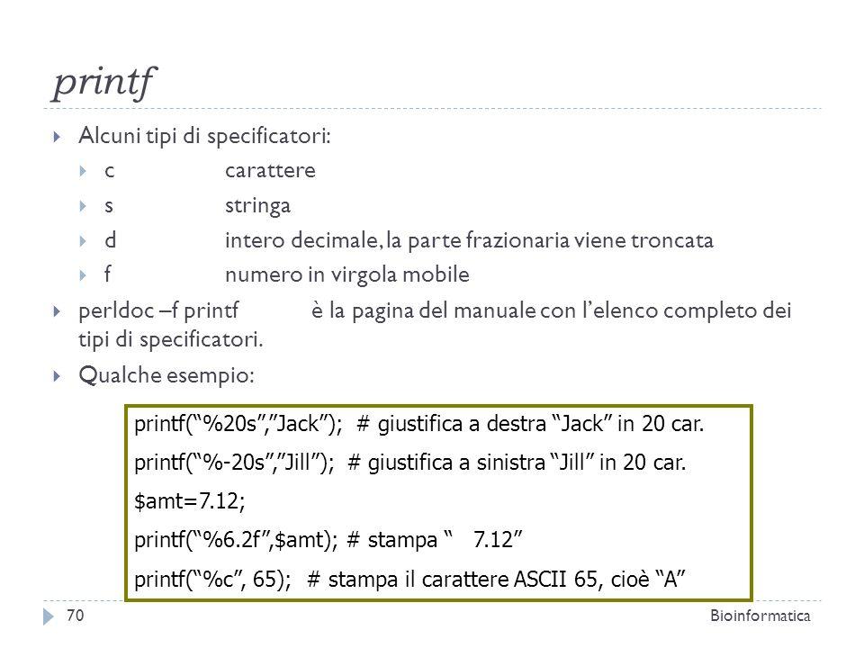 printf Alcuni tipi di specificatori: c carattere s stringa