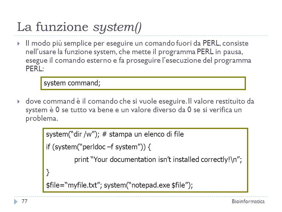 La funzione system()