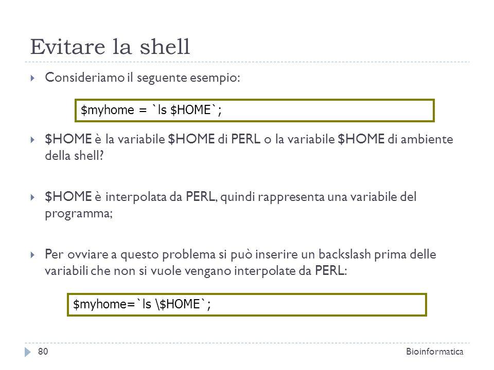 Evitare la shell Consideriamo il seguente esempio:
