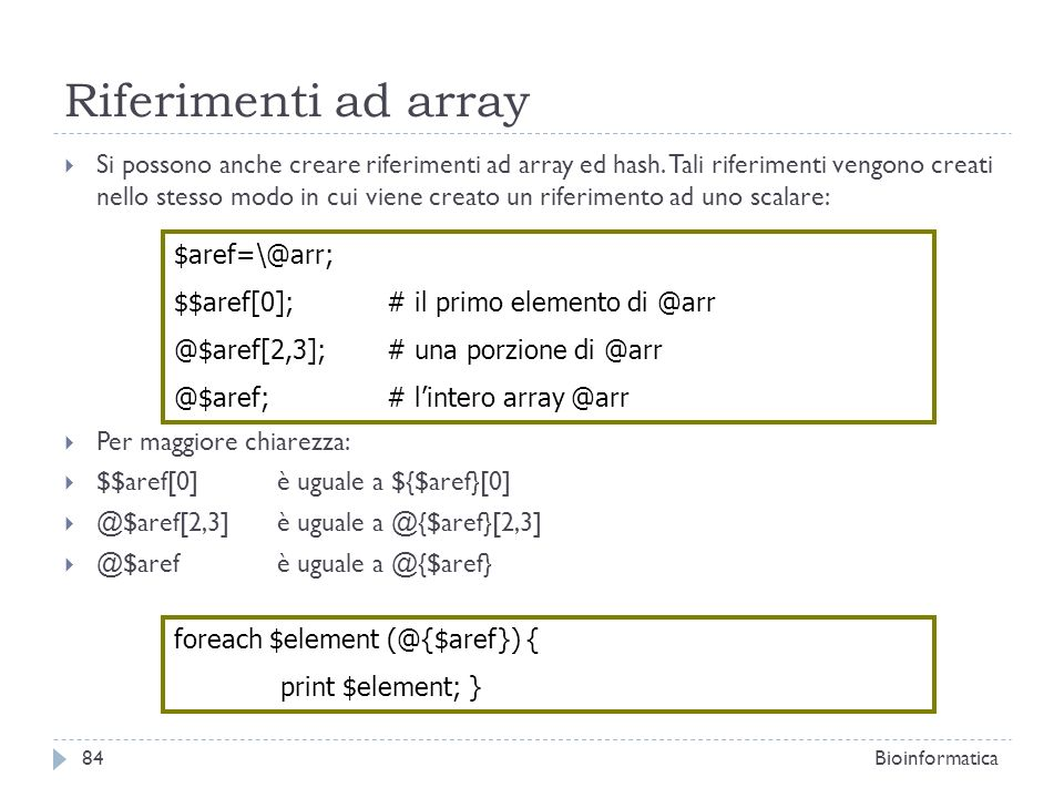 Riferimenti ad array