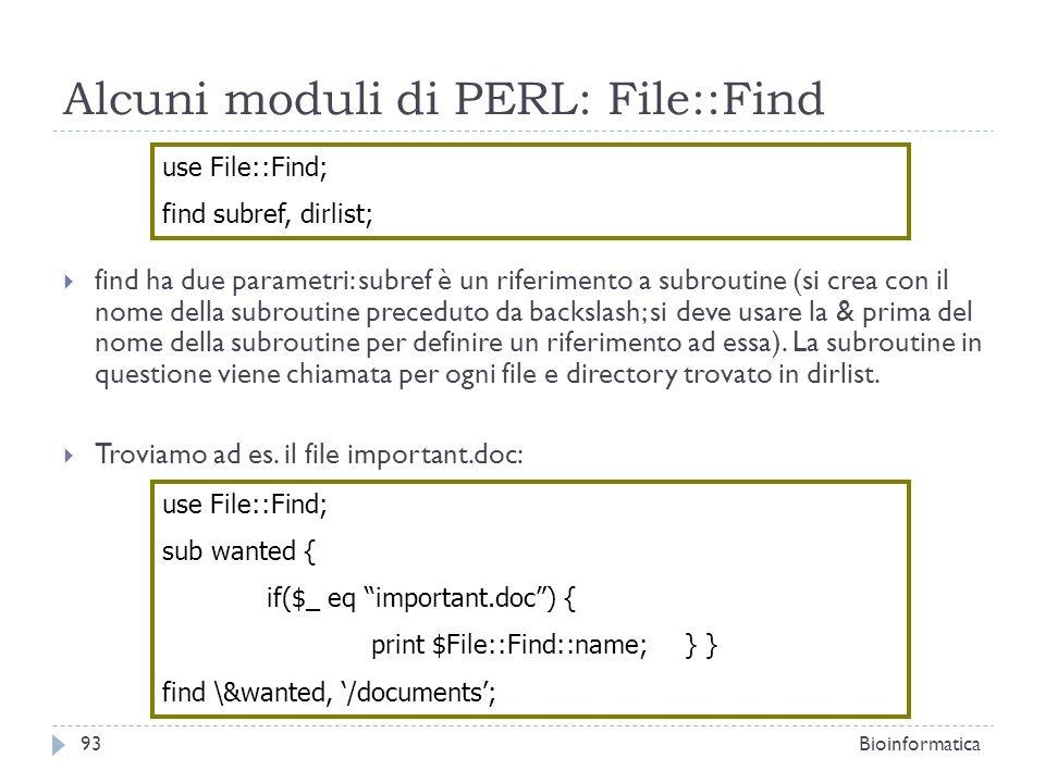 Alcuni moduli di PERL: File::Find