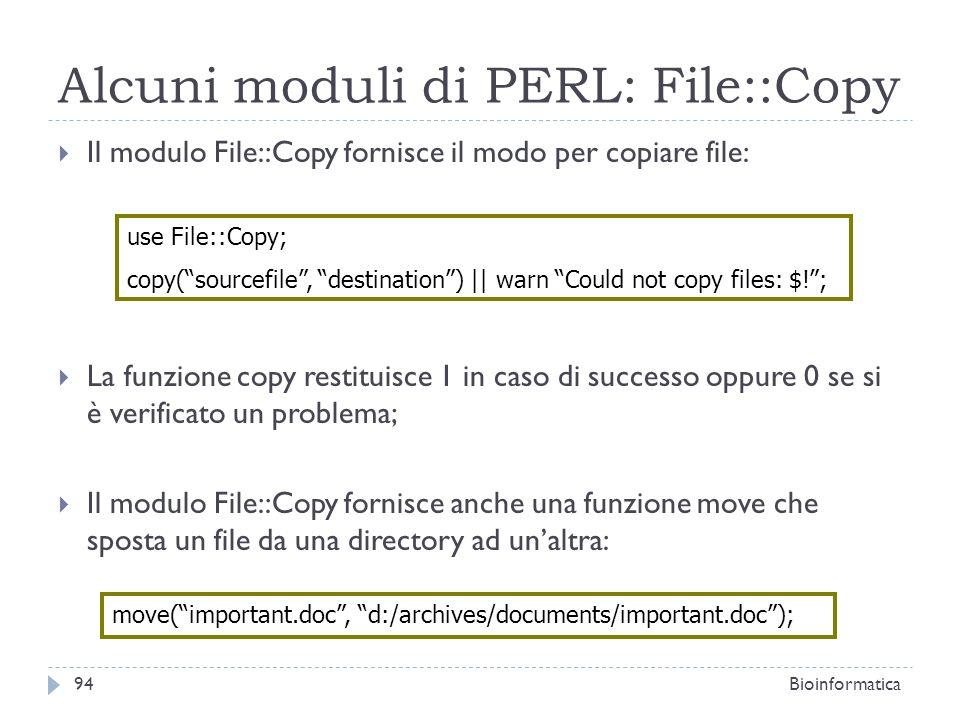Alcuni moduli di PERL: File::Copy