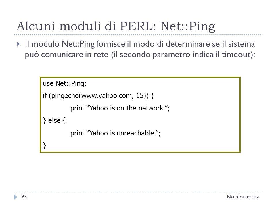 Alcuni moduli di PERL: Net::Ping