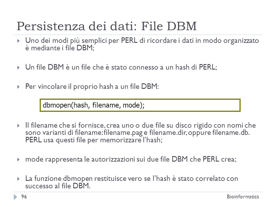 Persistenza dei dati: File DBM