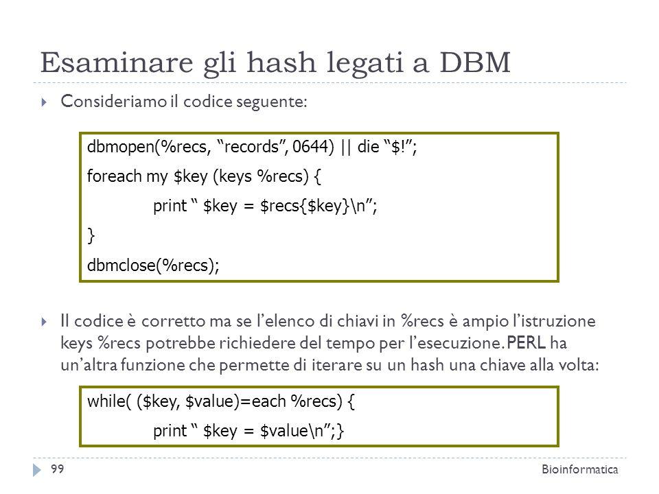 Esaminare gli hash legati a DBM