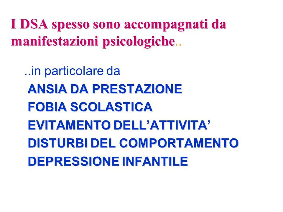 I DSA spesso sono accompagnati da manifestazioni psicologiche..