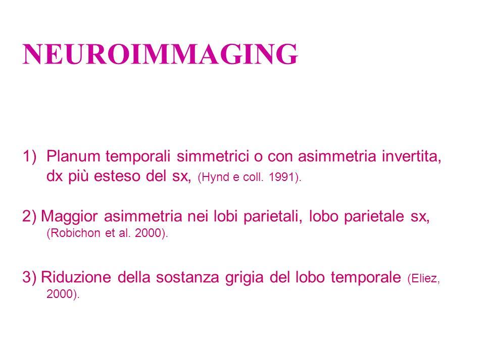 NEUROIMMAGING Planum temporali simmetrici o con asimmetria invertita, dx più esteso del sx, (Hynd e coll. 1991).