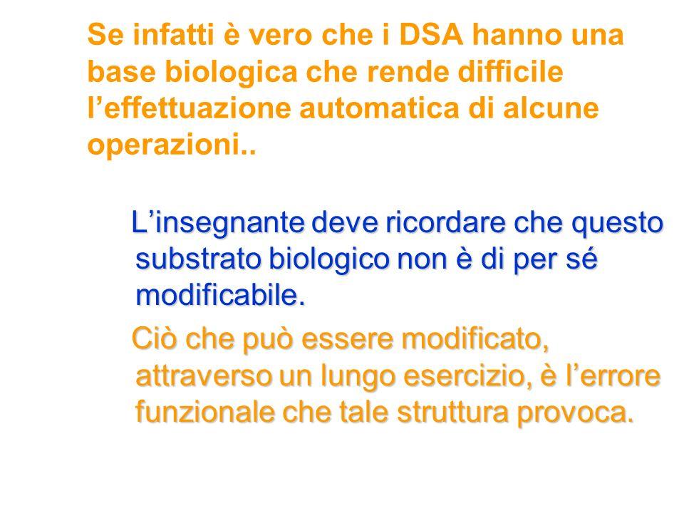 Se infatti è vero che i DSA hanno una base biologica che rende difficile l'effettuazione automatica di alcune operazioni..