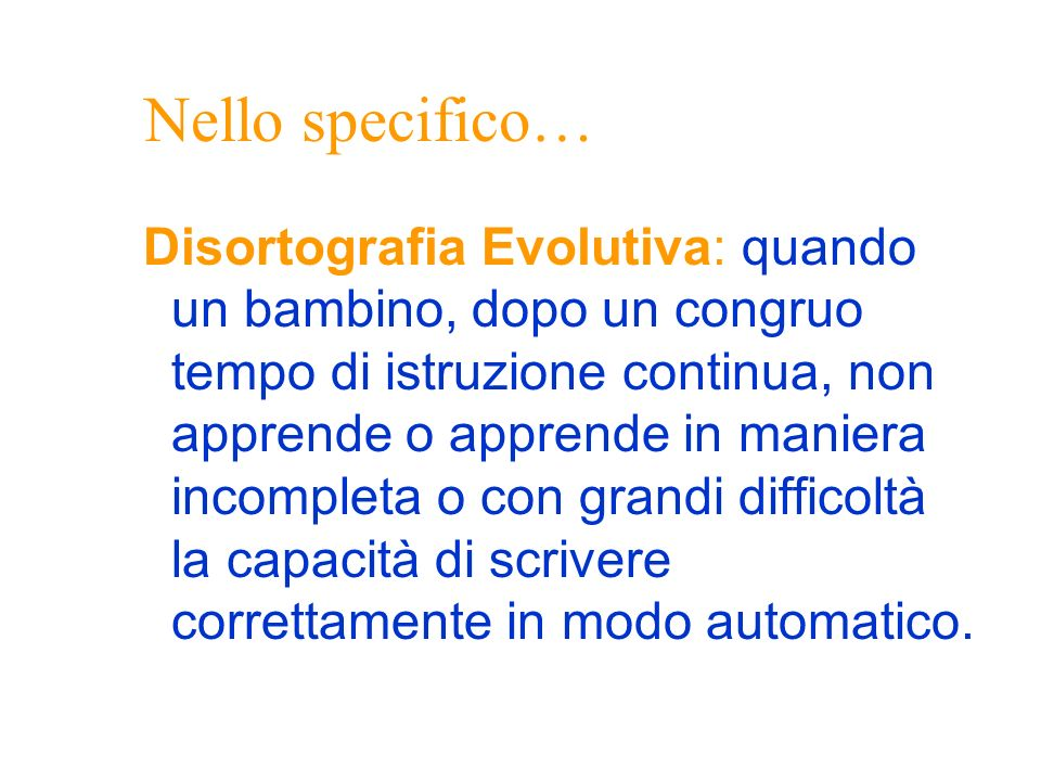 Nello specifico…