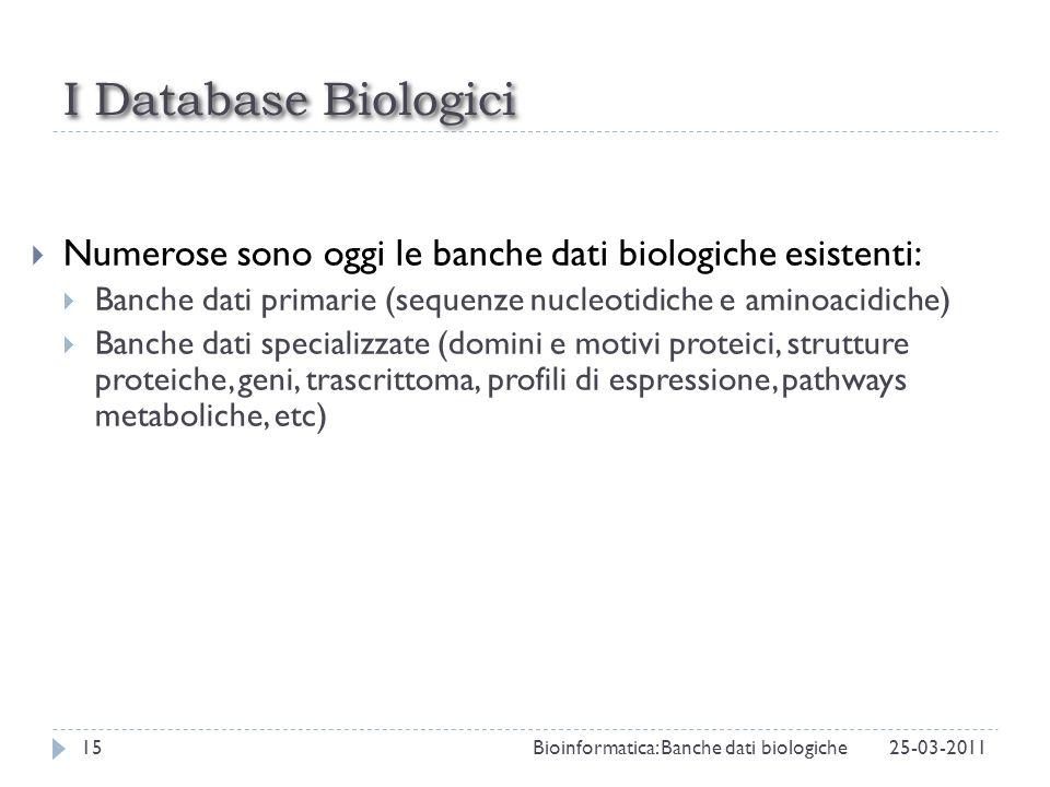 I Database Biologici Numerose sono oggi le banche dati biologiche esistenti: Banche dati primarie (sequenze nucleotidiche e aminoacidiche)