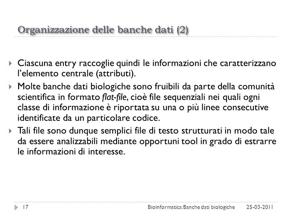 Organizzazione delle banche dati (2)