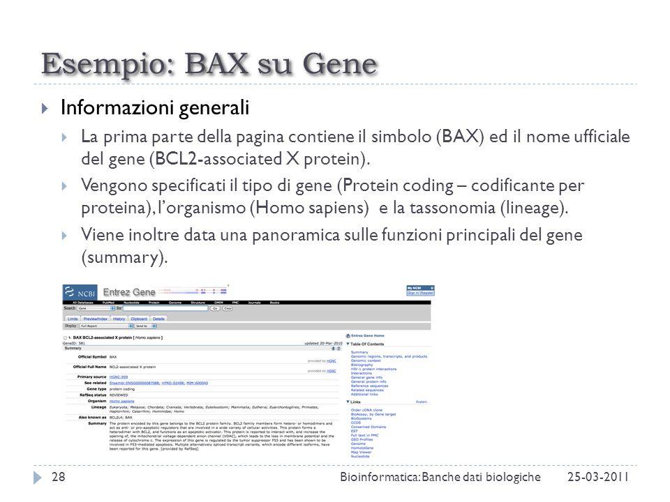 Esempio: BAX su Gene Informazioni generali