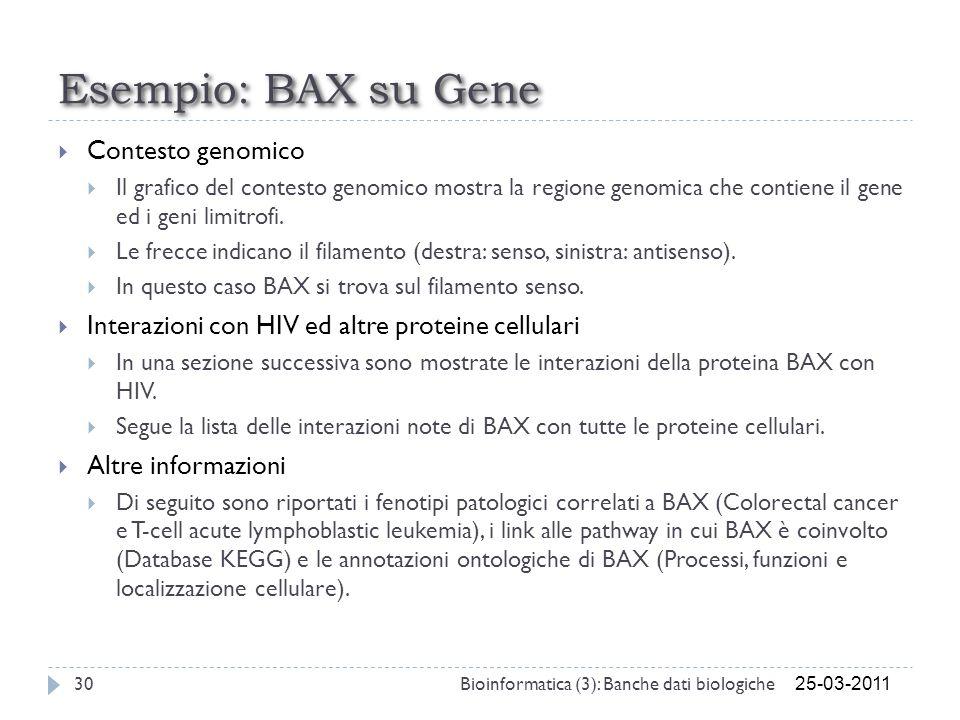 Esempio: BAX su Gene Contesto genomico
