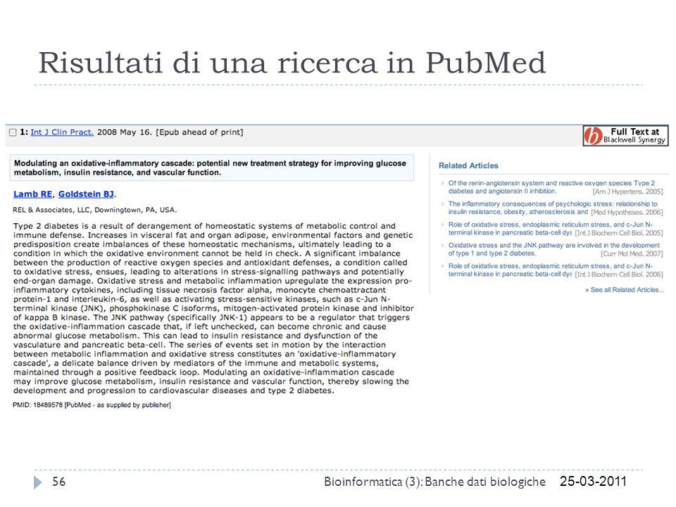 Risultati di una ricerca in PubMed