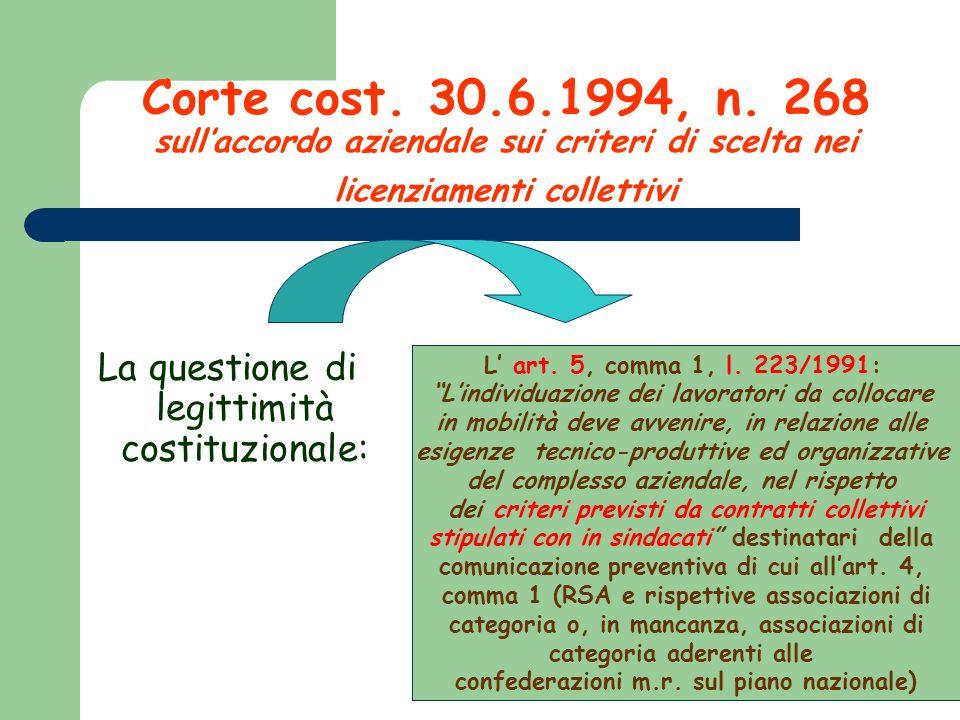 Corte cost. 30.6.1994, n. 268 sull'accordo aziendale sui criteri di scelta nei licenziamenti collettivi